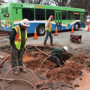 Water line break during Hillsborough Street roundabout construction