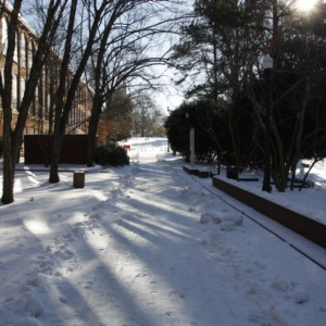 Tompkins Hall in Snow