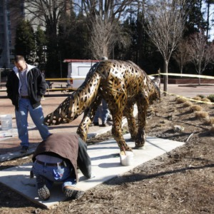 Installation of Wolf statues in front of Free Expression Tunnel