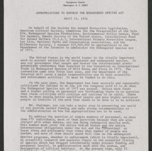 Christine Stevens Statements for SAPL, 1976-1980