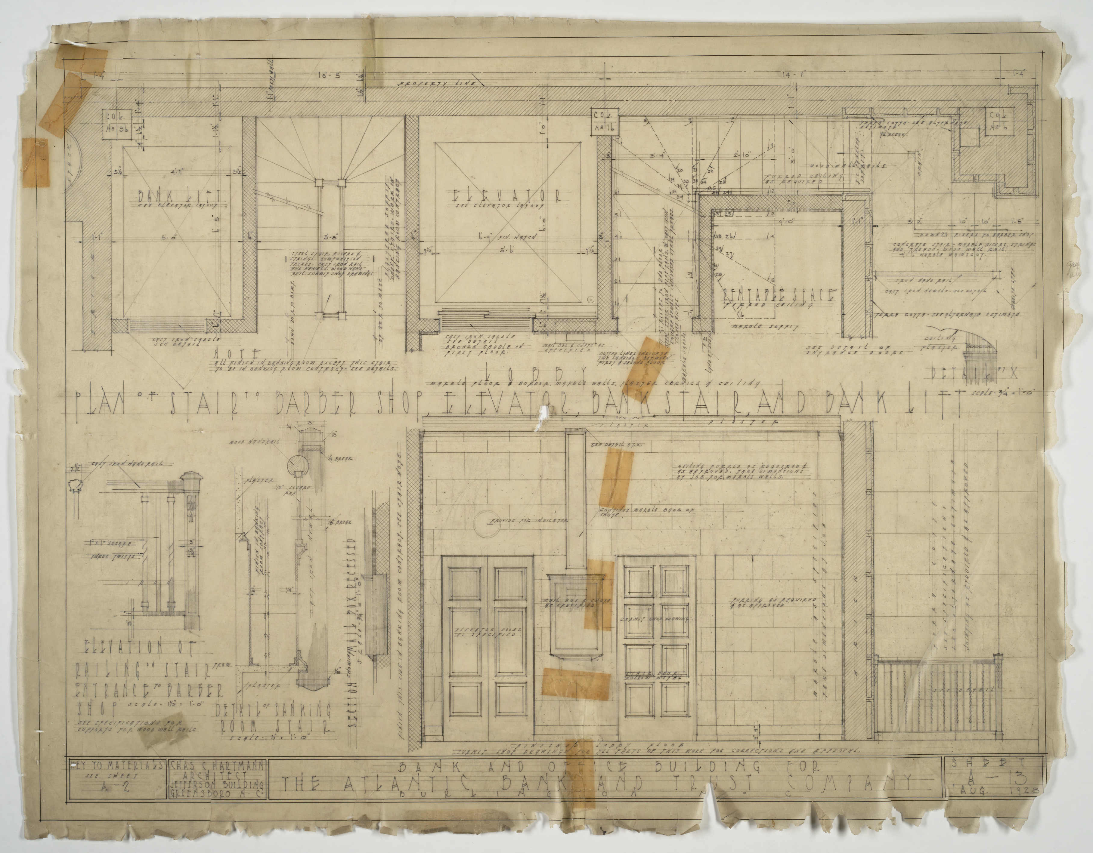 Stair and elevator plans and details atlantic bank and for Elevator plan drawing