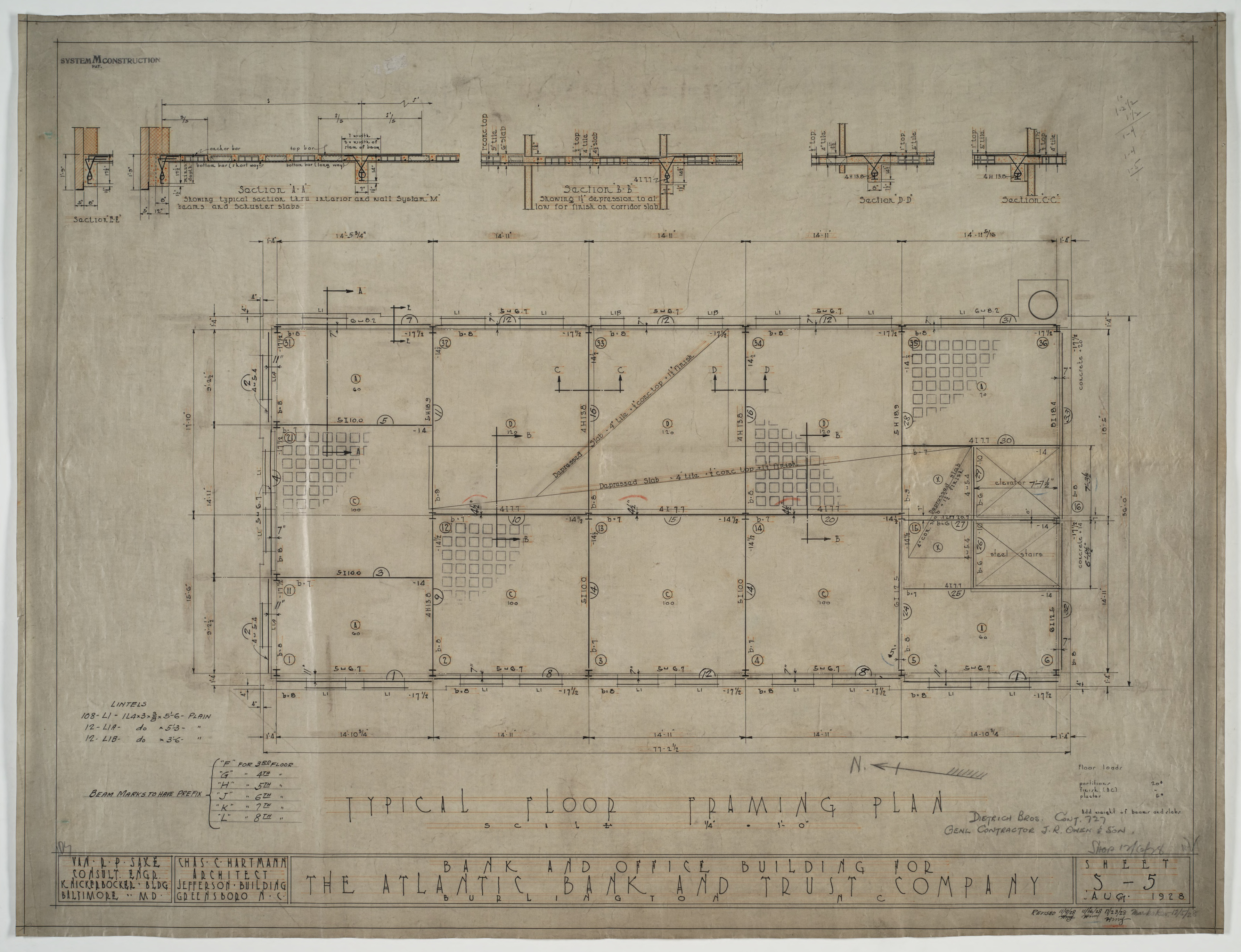 typical floor framing plan atlantic bank and trust co construction drawings