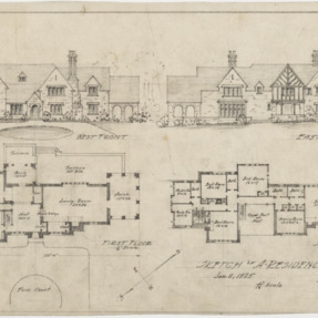 West front, east front, first floor plan, second floor plan
