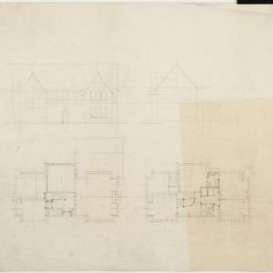 Drawing of floor plans, elevations, unidentified building