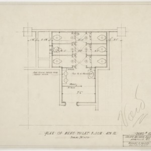 Plan of men's toilet, fourth floor