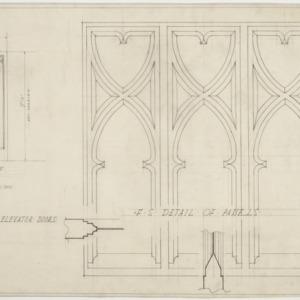 Details of panels, first floor elevator doors