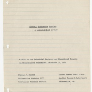 Several Simulation Studies: A methodological review, December 1961
