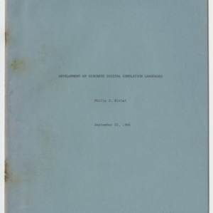Development of Discrete Digital Simulation Languages, September 1966