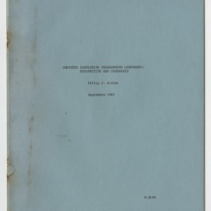Computer Simulation Programming Languages: Perspective and Prognosis, September 1967