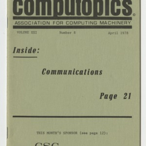 Computopics, Vol. XXI, No. 8, April 1978