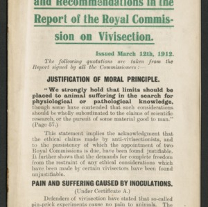 Anti-vivisection admissions and recommendations in the report of the Royal Commission on Vivisection