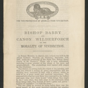 Bishop Barry and Canon Wilberforce on the morality of vivisection