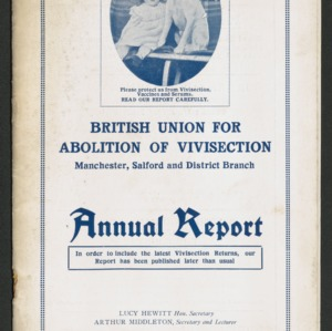 British Union for the Abolition of Vivisection, Manchester, Salford and District Branch Annual Report