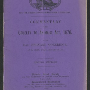 Commentary on the Cruelty to Animals Act, 1876