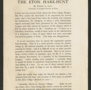 The Eton hare-hunt