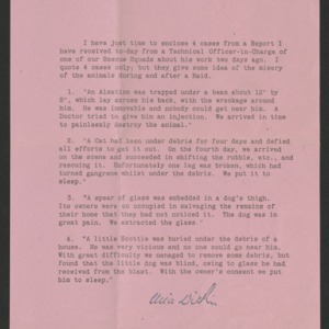 Letter about four cases from a P.D.S.A. rescue squad report