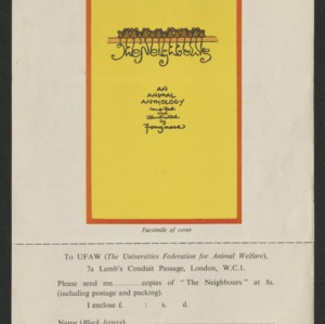 "Advertisement and order form for Fougasse's ""The Neighbours"""