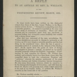 A reply to an article by Rev. L. Wallace in the Westminster Review, March, 1892