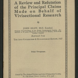 A review and refutation of the principal claims made on behalf of vivisection research