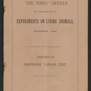 """The Times"" article on the results of experiments on living animals"