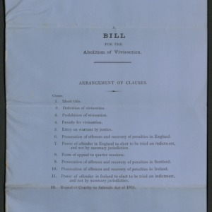 A bill for the abolition of vivisection