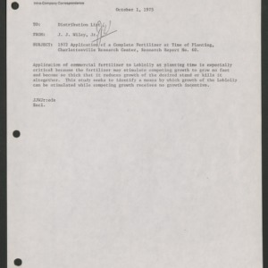 1972 Application of a Complete Fertilizer at Time of Planting (Research Report No. 60)