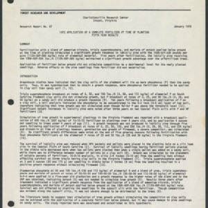 1972 Application of a Complete Fertilizer at the Time of Planting Fifth Year Results (Research Report No. 67)