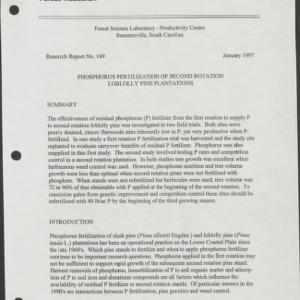 Phosphorus Fertilization of Second Rotation Loblolly Pine Plantations (Research Report No. 169)