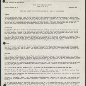 Three Year Results of the 1973 Application of N and P at Planting Study (Research Report No. 2)