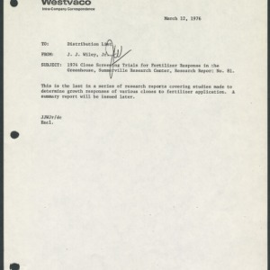 1974 Clone Screening Trials for Fertilizer Response in the Greenhouse (Research Report No. 81)