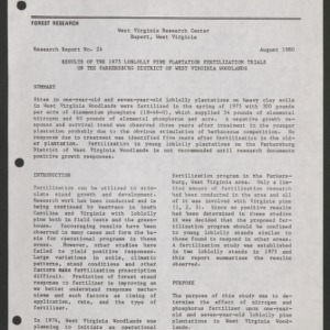 Results of the 1975 Loblolly Pine Plantation Fertilization Trials on the Parkersburg District of West Virginia (Research Report No. 24)