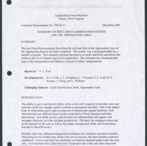 Summary of the Land Classification System for the Appomattox Area (Technical Memorandum TM-03-11)