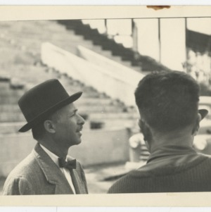 Pietro Belluschi and Superintendent E. F. Fulton on the construction site of Dorton Arena, 1951-1952