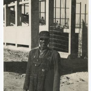 Workman on the construction site of Dorton Arena, 1951-1952