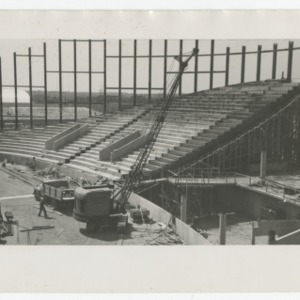 Interior of Dorton Arena during its construction, 1951-1952