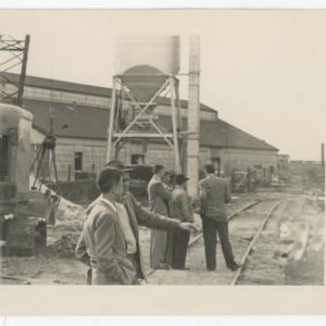 Railroad through the construction site of Dorton Arena, 1951-1952