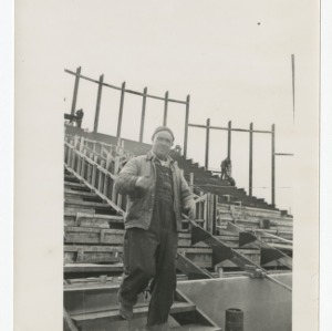 Workman on the construction site of Dorton Arena, 1951-1952
