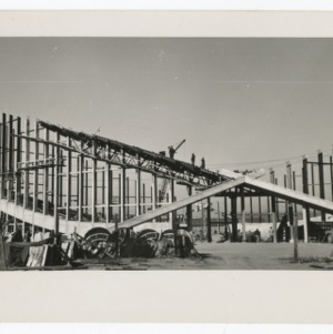 Exterior of Dorton Arena during its construction, 1951-1952