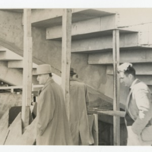 Governor W. Kerr Scott and Superintendent E. F. Fulton on Dorton Arena's construction site, 1951-1952