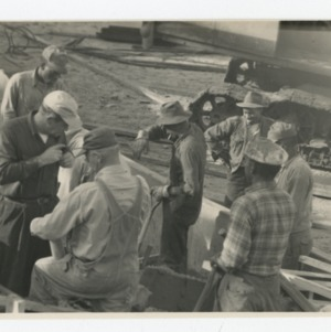 Workmen on Dorton Arena's construction site, 1951-1952