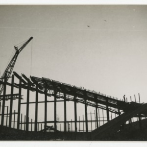 Dorton Arena's exterior scaffolding during its construction, 1951-1952