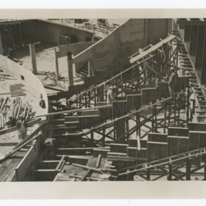 Steps of Dorton Arena being constructed, 1951-1952