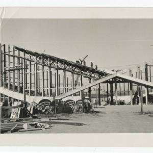 Dorton Arena's exterior cross being constructed, 1951-1952