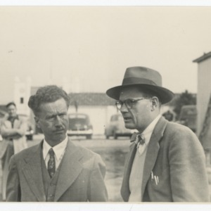General Superintendent E. F. Fulton and others on construction site of Dorton Arena, 1951-1952