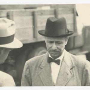 Pietro Belluschi on construction site of Dorton Arena