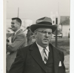 William Muirhead on construction site of Dorton Arena