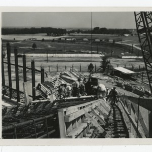 Aerial View of Dorton Arena during the pouring of concrete