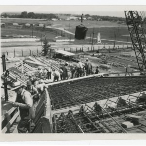 Dorton Arena's steel latticework during its construction