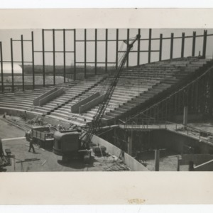 Crane being operated during the construction of Dorton Arena