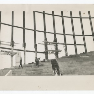 Interior of Dorton Arena during its construction